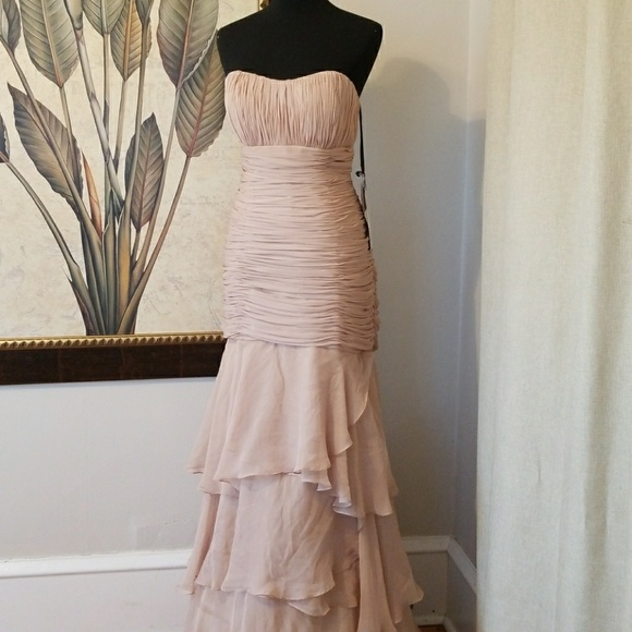 Alyce Paris Dresses | Long Sheer Nude Color Dress | Poshmark